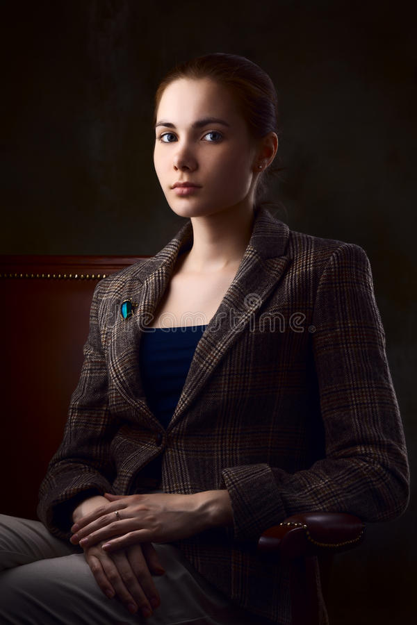 Girl In Checked Jacket Stock Image