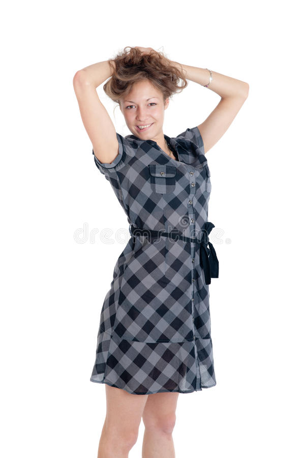 Download Girl in a checkered dress stock image. Image of color - 20013507