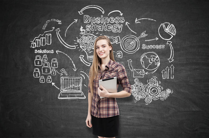 Download Girl In Checkered Shirt And Business Strategy Stock Image - Image: 83722659
