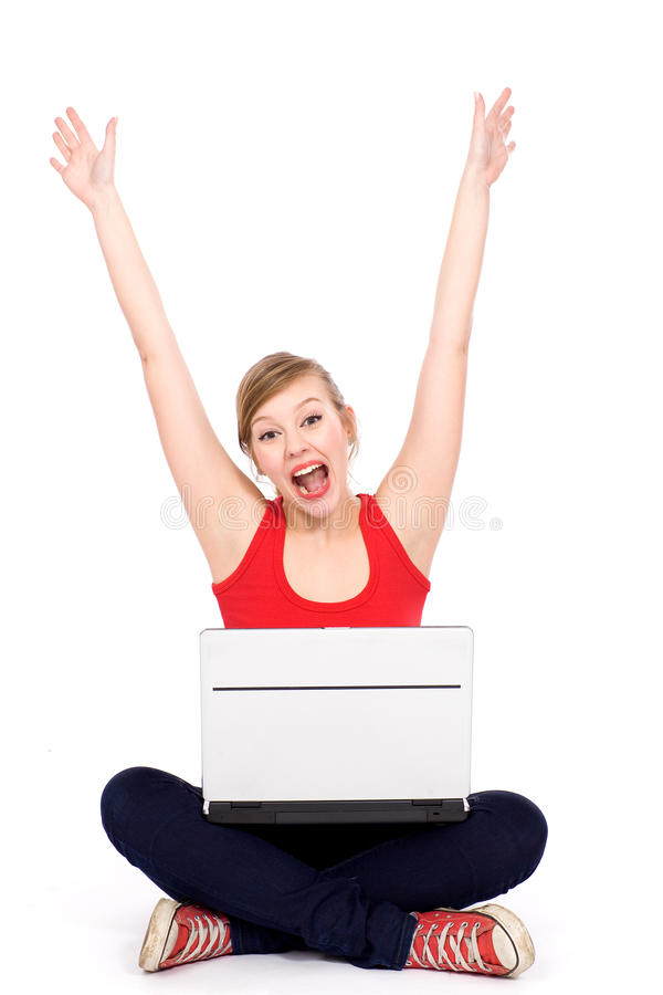 Download Girl cheering with laptop stock image. Image of cheerful - 19212065