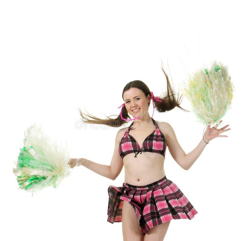 Girl Cheerleader Jump Stock Image