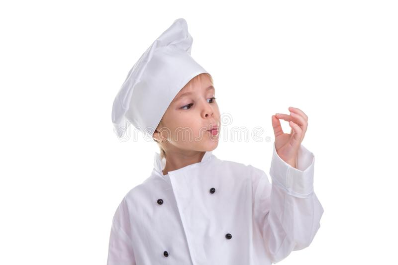 Girl chef white uniform isolated on white background, blowing to the fingers, Okay sign. Landscape image stock images