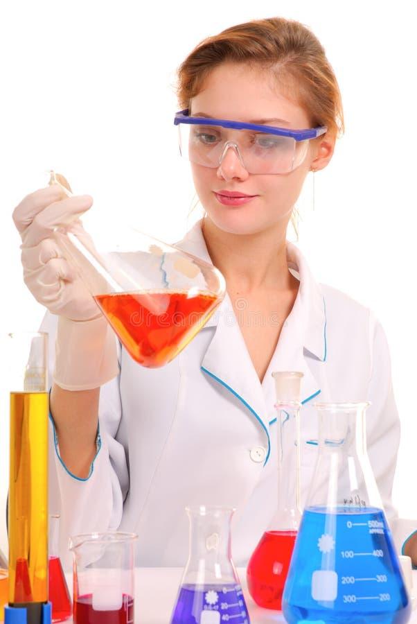 Girl chemist stock photos
