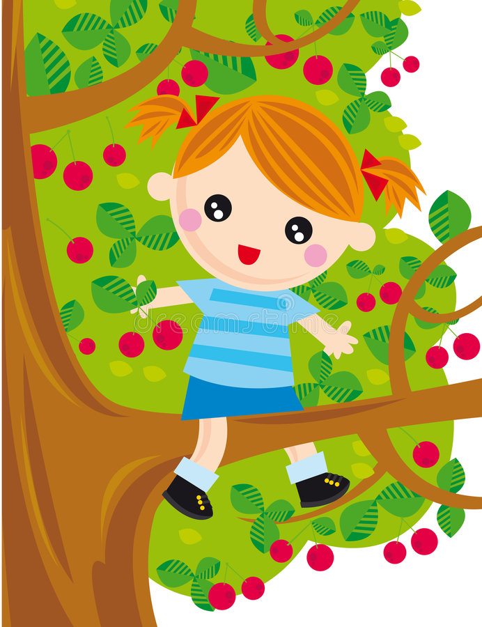Girl on cherry tree stock photo