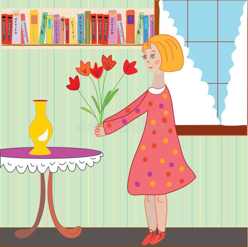 Girl child arranging flowers in the room. Cartoon vector illustration