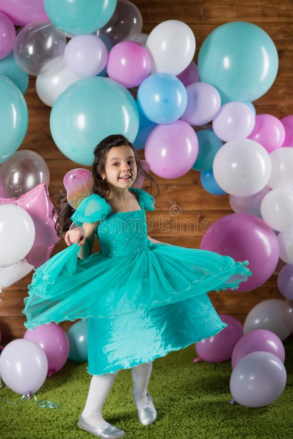 Girl child with balloons royalty free stock photography