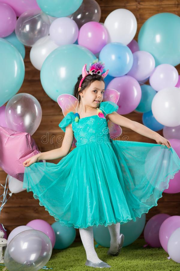 Girl child with balloons royalty free stock image