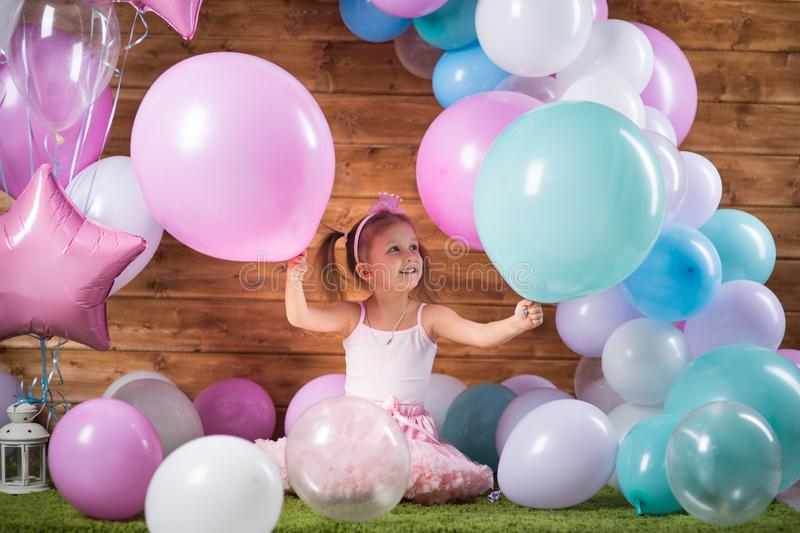 Girl child with balloons royalty free stock images