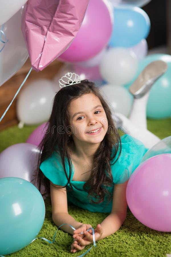 Girl child with balloons stock photos