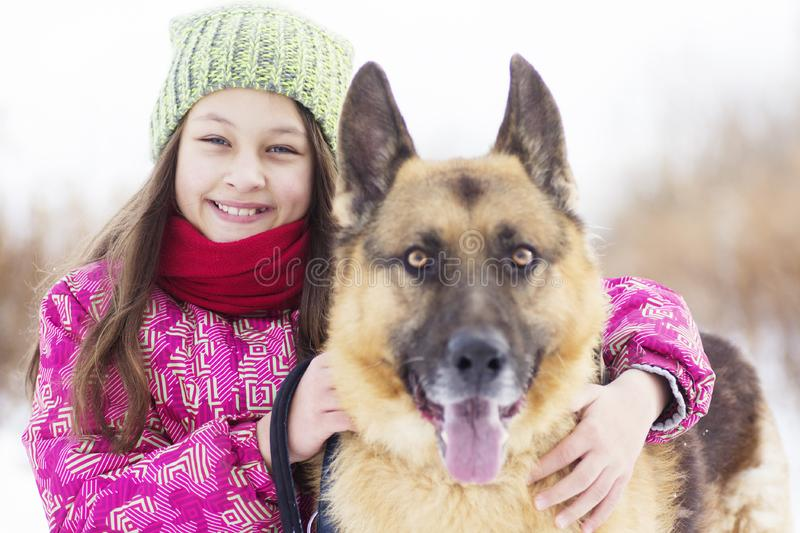 Girl child and dog royalty free stock photography