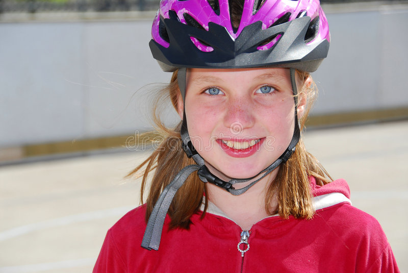 Girl child helmet royalty free stock photos