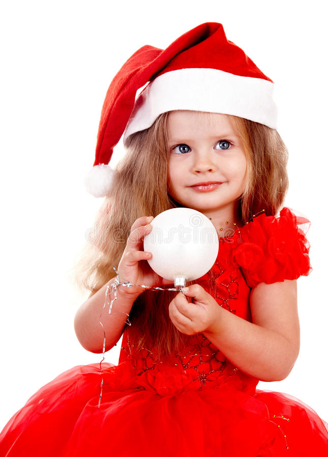 Free Girl Child In Santa Hat With Christmas Ball. Royalty Free Stock Photo - 11689565