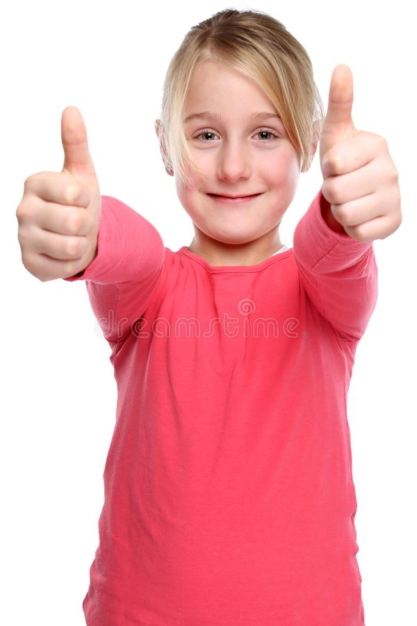 Girl child kid smiling young success thumbs up isolated on white. Girl child kid smiling young success thumbs up isolated on a white background royalty free stock image