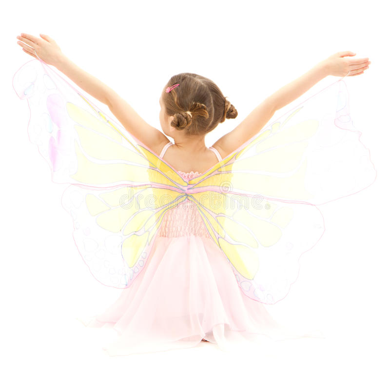 Girl child in kids butterfly ballerina costume stock photos