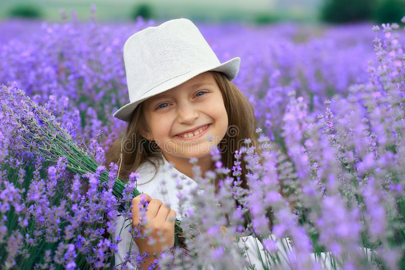Girl child is in the lavender flower field, beautiful summer landscape stock image