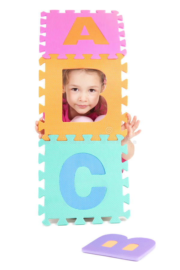 Girl Child Playing With Kids Alphabet Abc Letters Stock Images