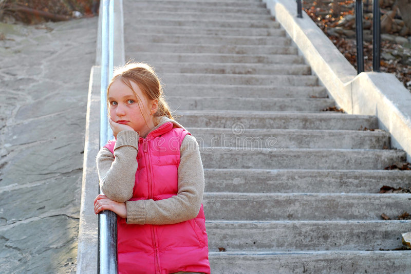 Girl child stairs stock photos