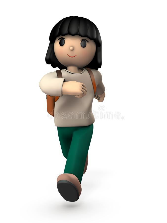 A girl child who walks energetically. She goes to school happily. White background. 3D illustration vector illustration