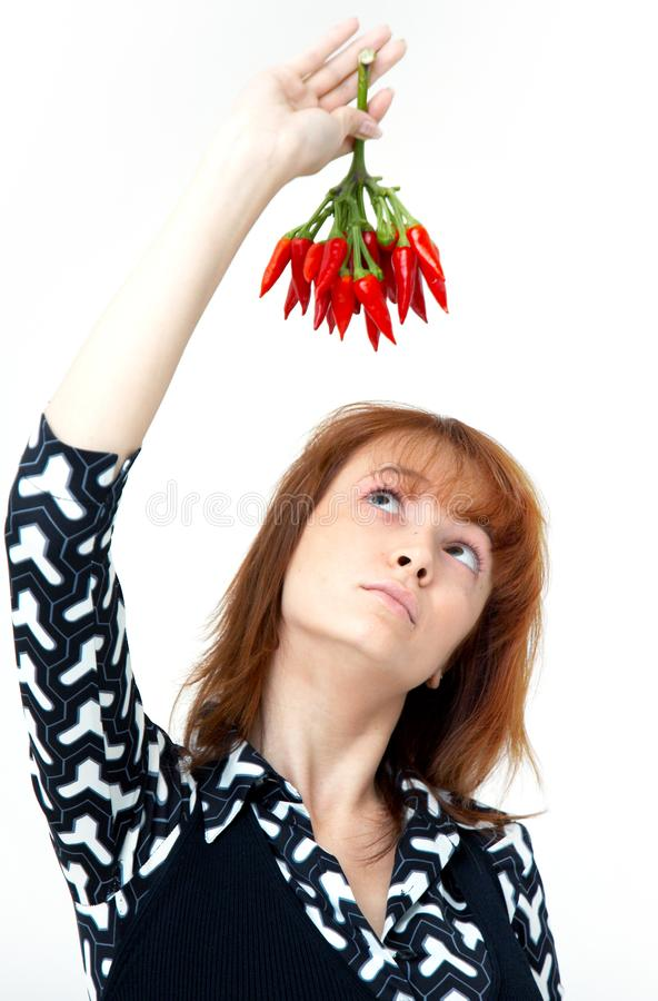 Download Girl with chilli stock image. Image of pappers, expression - 1357165
