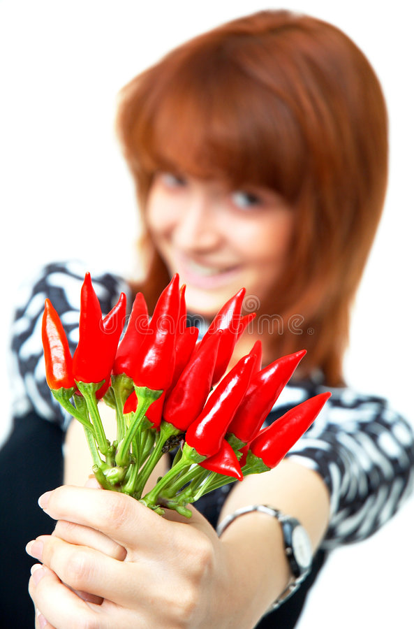 Download Girl with chilli stock photo. Image of young, female, pappers - 1357252
