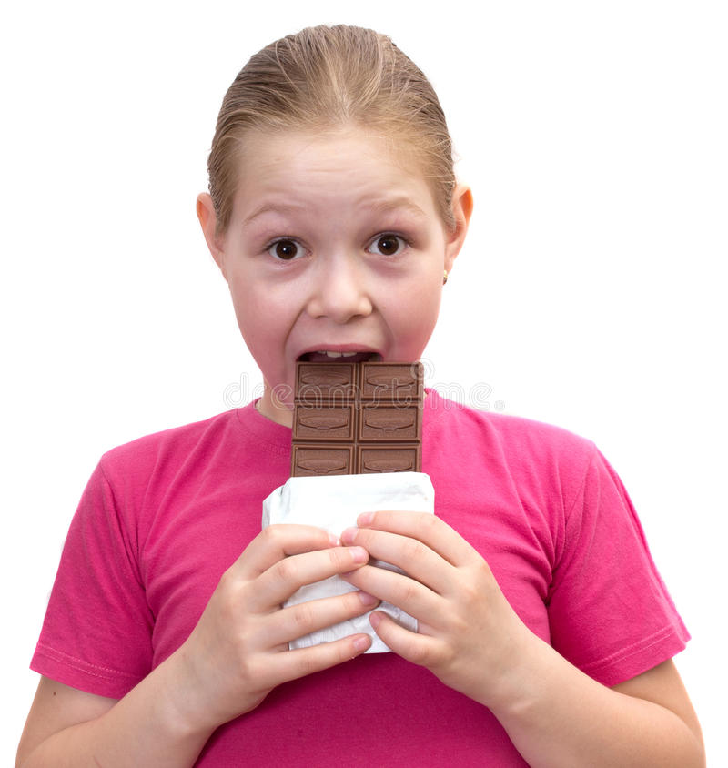 The girl with a chocolate royalty free stock photos