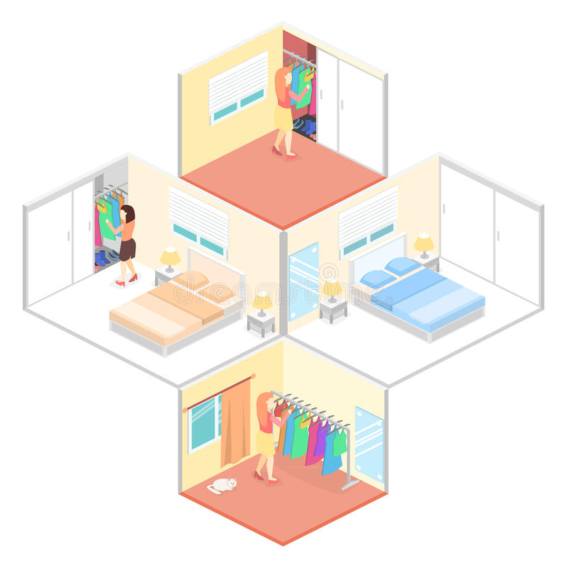 Girl chooses clothes in isometric room. Flat 3D illustration. stock illustration