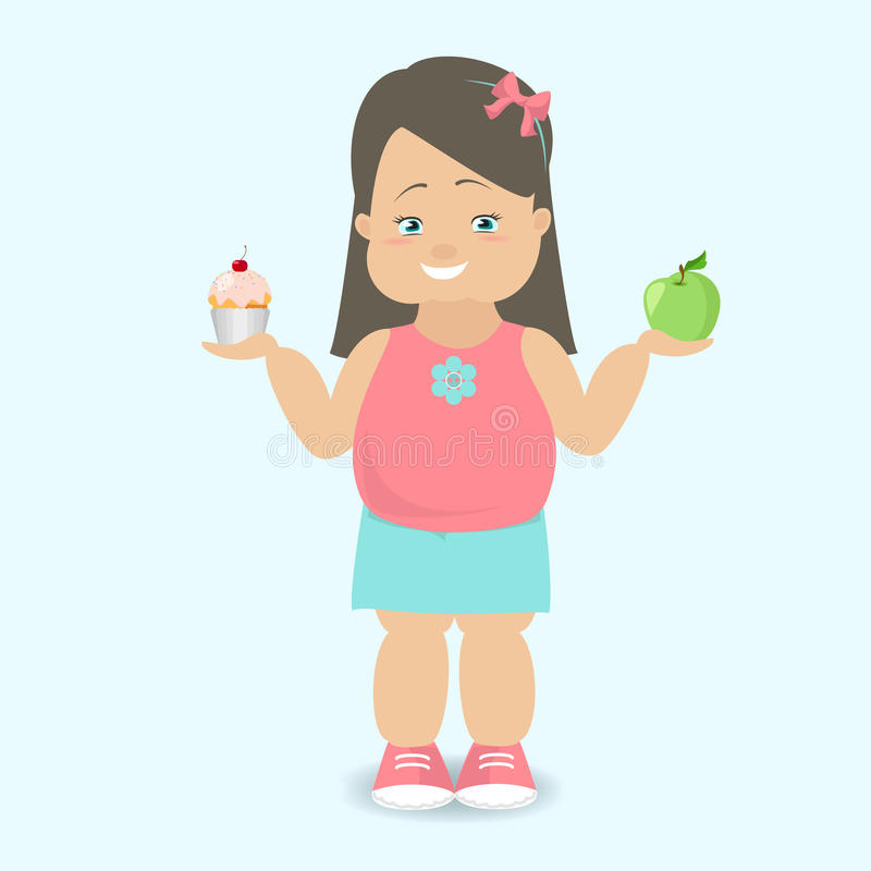Girl chooses a healthy lifestyle The fat kid Vector cartoon royalty free illustration
