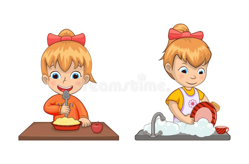 Girl Chores and Life Set Vector Illustration. Girl chores and life set of activities and eating cereals and apple and washing dishes, collection vector stock illustration