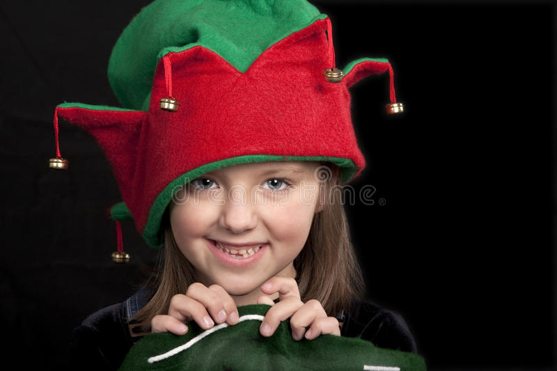 Download Girl in Christmas Elf hat stock image. Image of adorable - 12305623