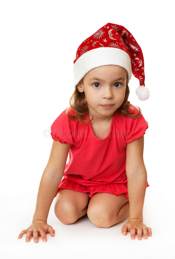Download Girl in Christmas hat. stock image. Image of year, child - 16652675