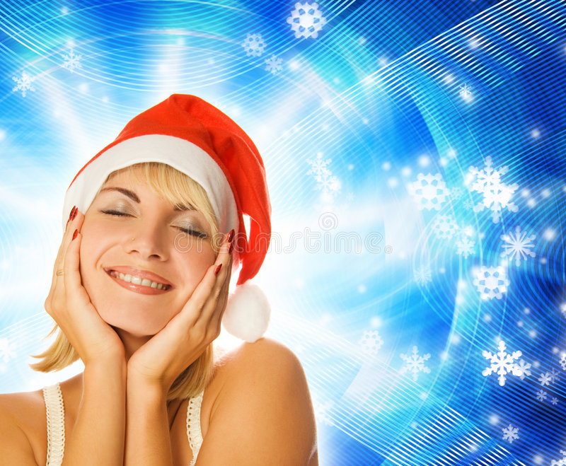 Download Girl in Christmas hat stock photo. Image of happy, beautiful - 3592026