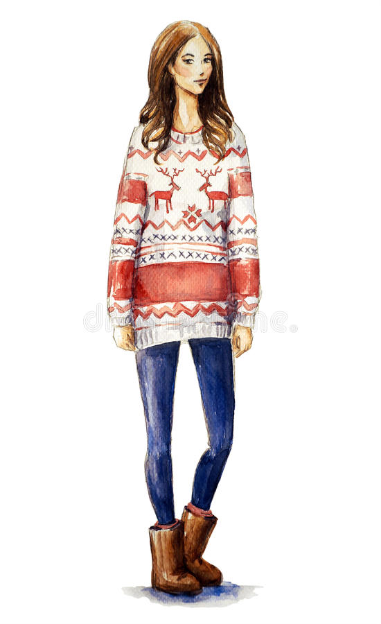 Girl in a christmas sweater. Christmas look royalty free illustration