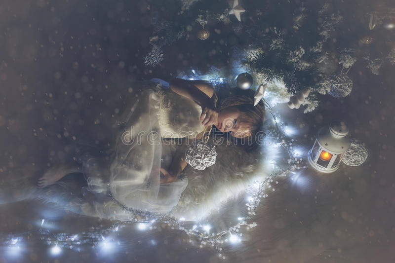 The girl with christmas toy royalty free stock photos