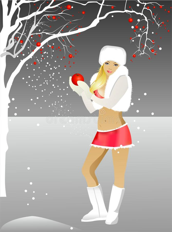 The girl and a christmas tree. Winter illustration. The girl - blonde in bikini on a background of the grey sky and snow. Beside a white christmas tree with royalty free illustration
