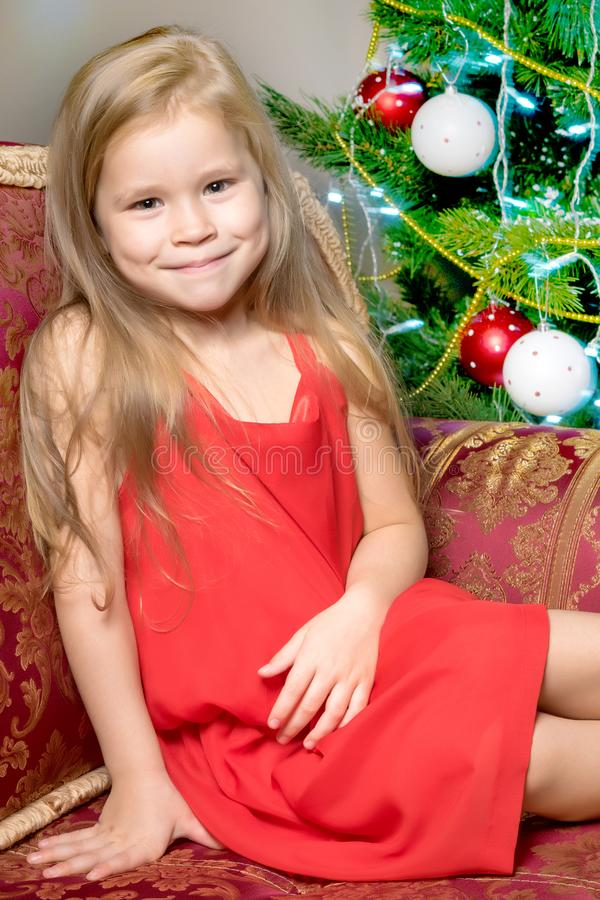 The girl at the Christmas tree. stock photos