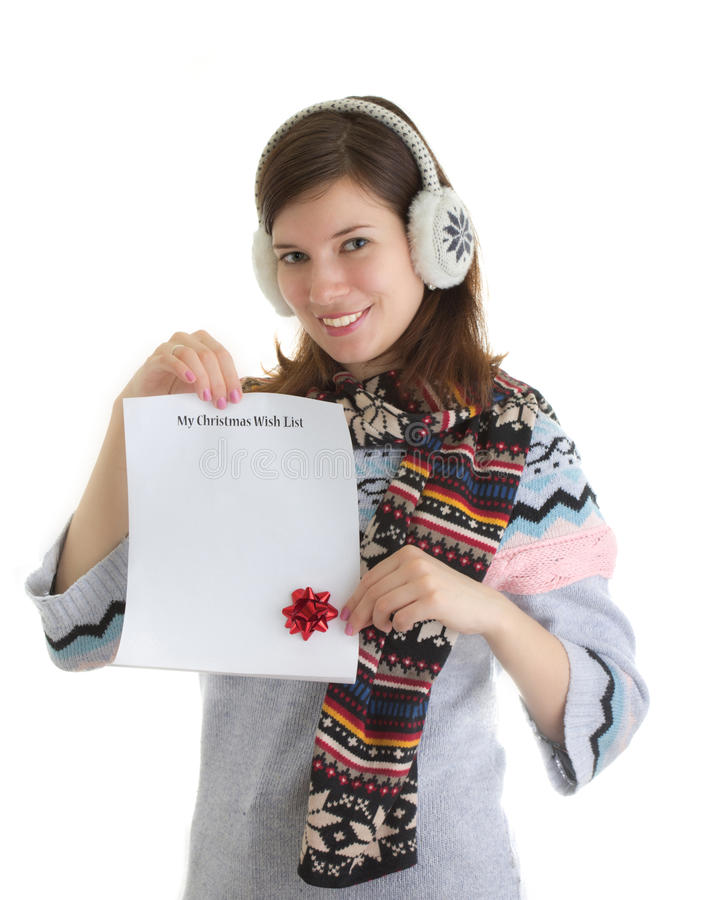 Download Girl With Christmas Wish List Stock Image - Image: 21982343