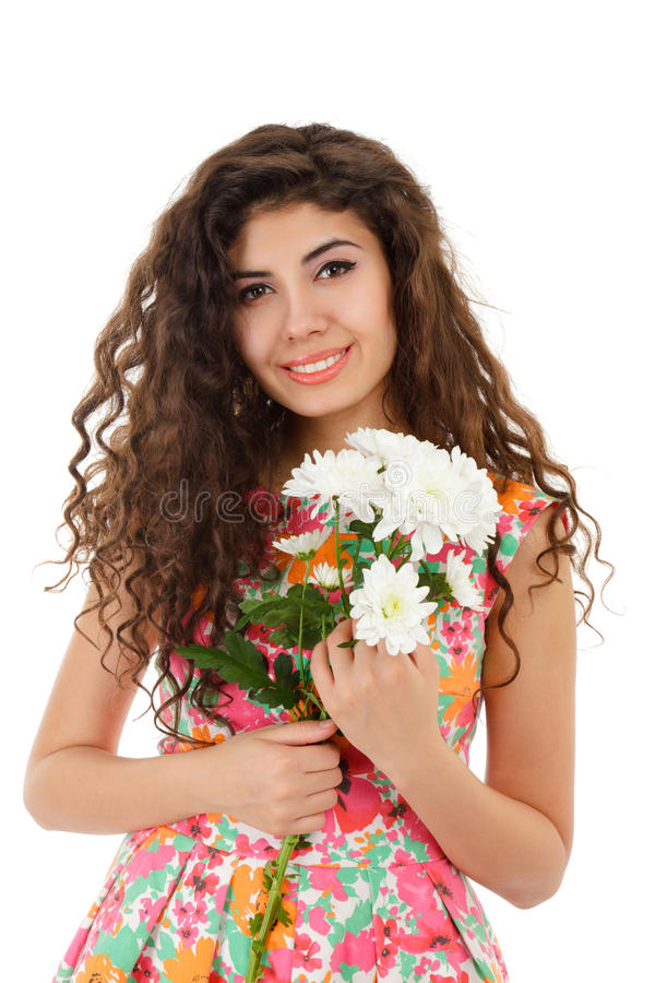 Download Girl with chrysanthemum stock image. Image of bouquet - 22386307