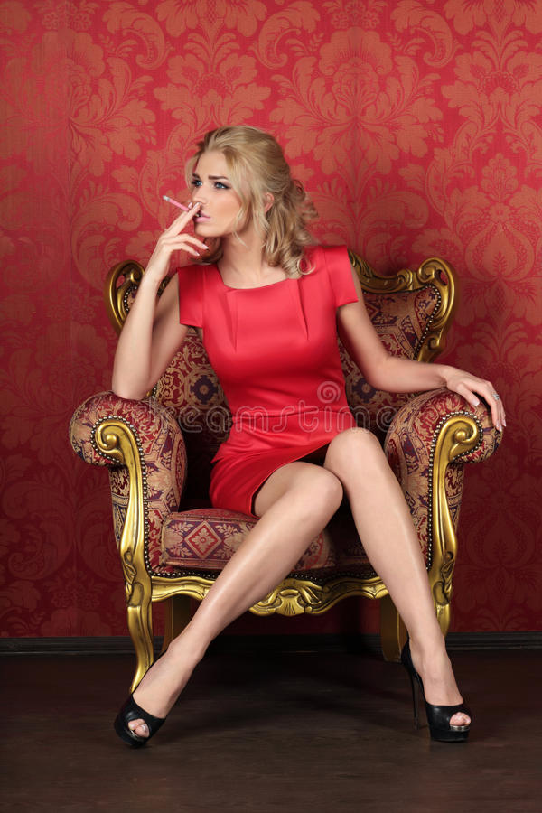 Girl With Cigarette Royalty Free Stock Images