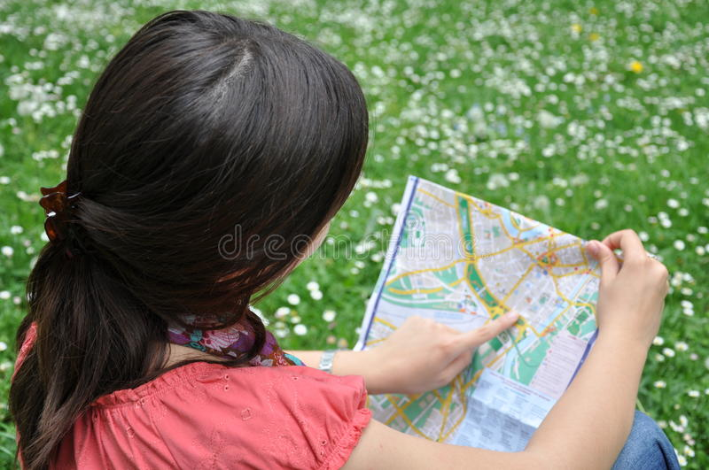 Girl With The City Map Stock Photography