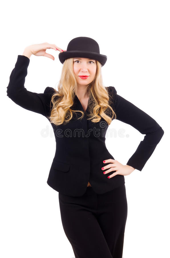 Girl in classic male suit isolated on the white royalty free stock photography