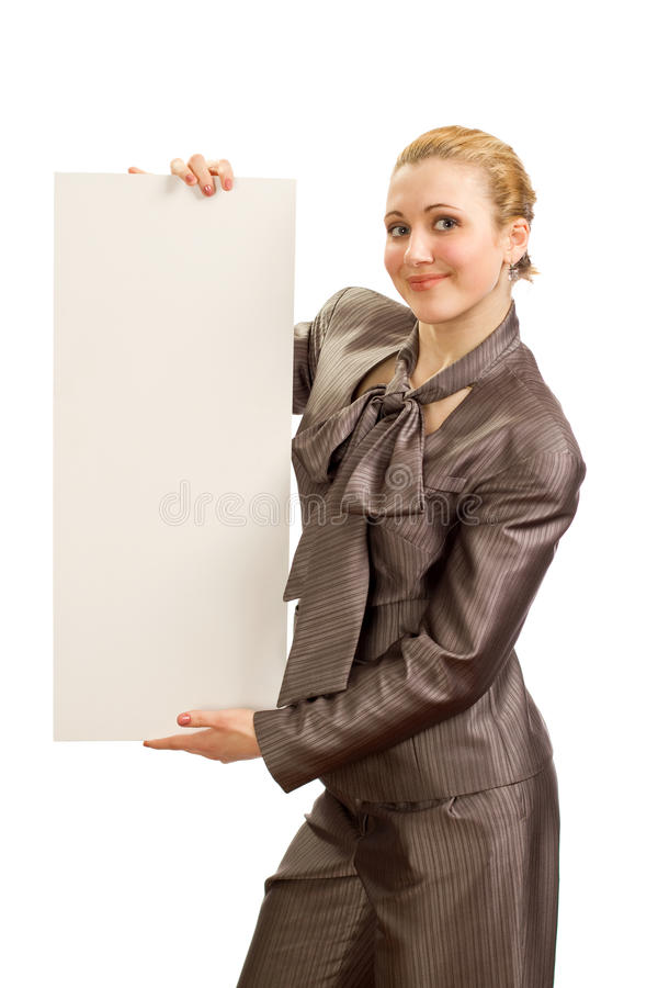 The girl with a clean sheet of paper stock photo