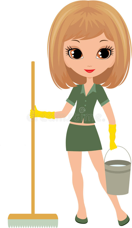 Girl The Cleaner On A White Background Royalty Free Stock Photography