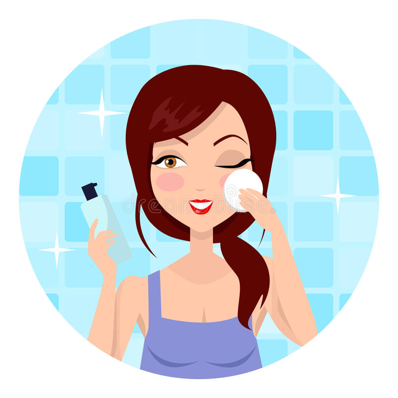 Girl Cleaning and Care Her Face vector illustration
