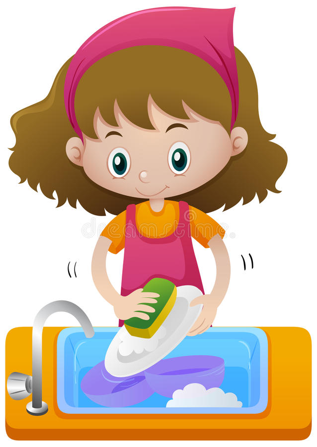 Free Girl Cleaning Dish In The Sink Royalty Free Stock Photo - 95826295