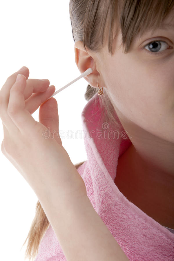 Download Girl cleans the ears stock image. Image of hygienics - 24287927