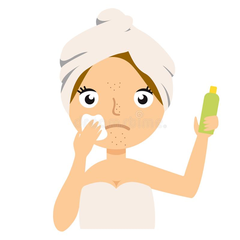 Girl cleans her face with cosmetic lotion. Skin problems solution, home remedies. Vector stock illustration. royalty free illustration