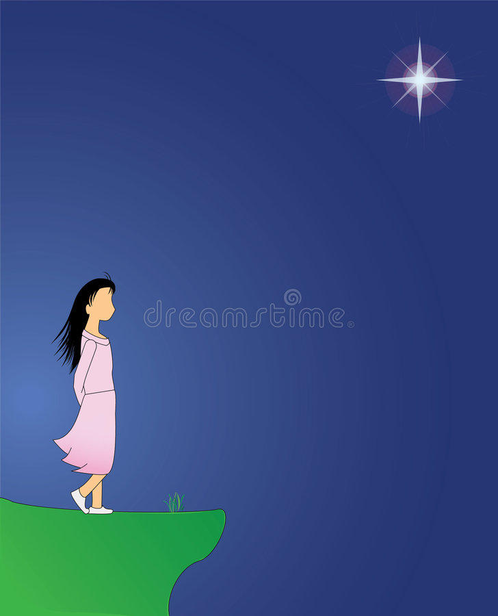 Download Girl On Cliff On A Windy Evening With Star Stock Illustration - Image: 6687357