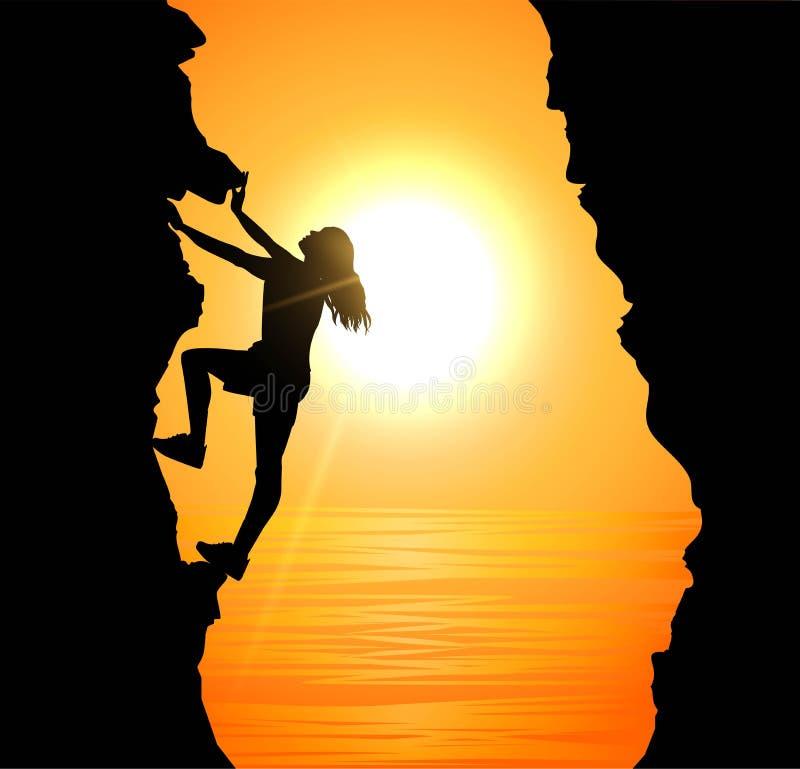 Girl climbing on mountain royalty free illustration
