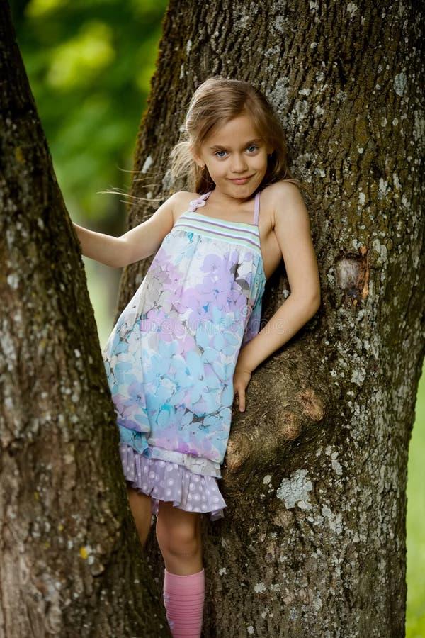 Girl climbs big tree in park royalty free stock photo