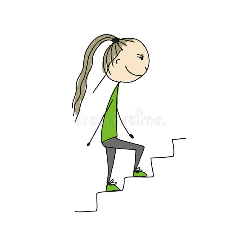 Girl climbs stairs, sketch for your design royalty free illustration